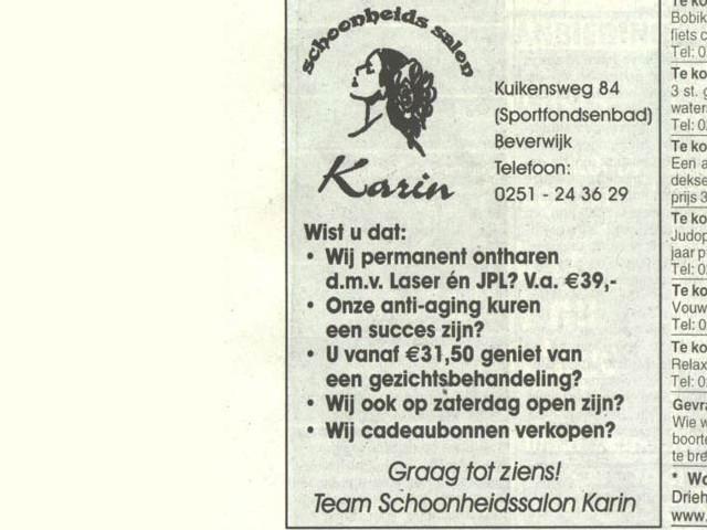 Schoonheidssalon advertentie schoonheidssalon karin 19 december 2005